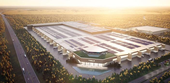 A rendering of Tesla's forthcoming Gigafactory near Berlin, Germany.