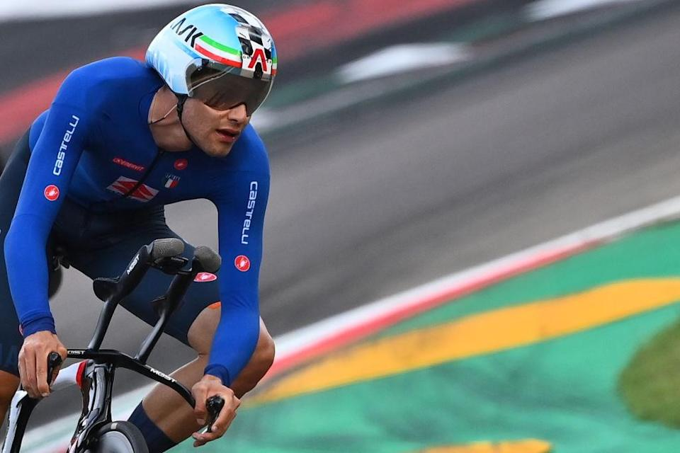 Italys Filippo Ganna competes in the Mens Elite Individual Time Trial at the UCI 2020 Road World Championships in Imola EmiliaRomagna Italy on September 25 2020 Photo by Marco BERTORELLO  AFP Photo by MARCO BERTORELLOAFP via Getty Images