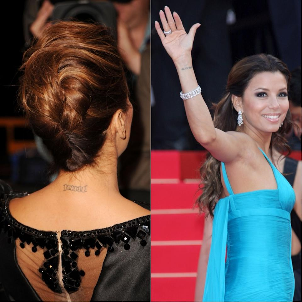 <p>Eva Longoria had a total of three tattoos removed following her divorce from husband Tony Parker in 2010.<br />The actress had the couple's wedding date marked on her wrist, his shirt number tattooed on the back of her neck and his name printed on a more discreet part of her body. The star waited two years to undergo laser treatment. <em>[Photo: Getty]</em> </p>