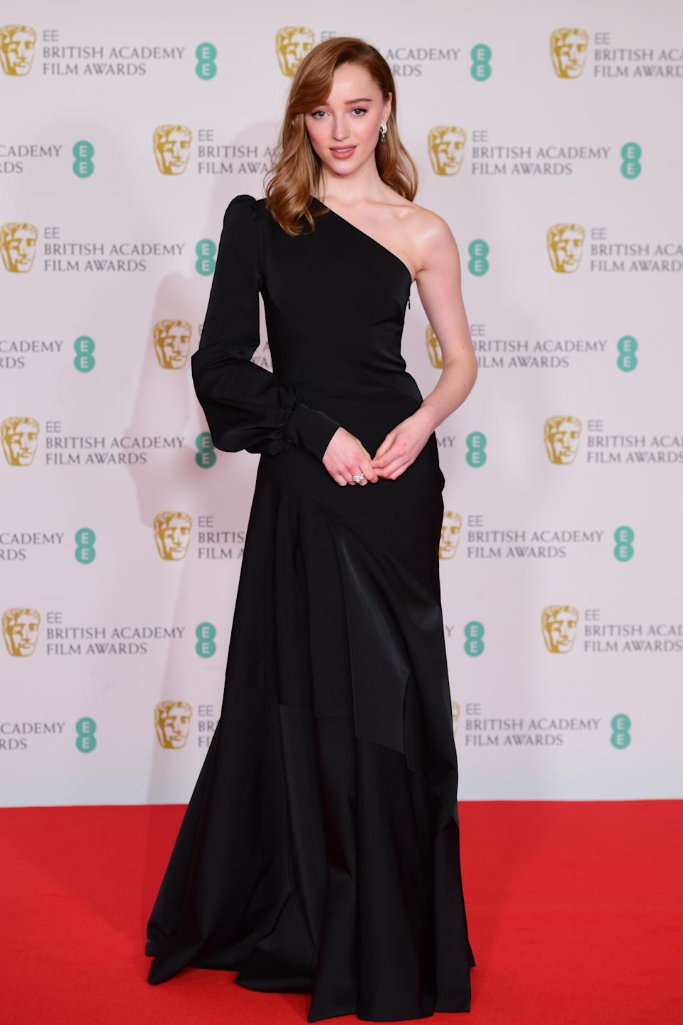 Phoebe Dynevor arrives for the EE BAFTA Film Awards at the Royal Albert Hall in London. Picture date: Sunday April 11, 2021. (Photo by Ian West/PA Images via Getty Images)