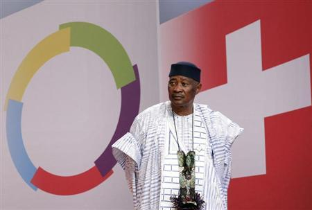 President of Mali Toure looks on before the family picture at the 13th Francophone Summit in Montreux