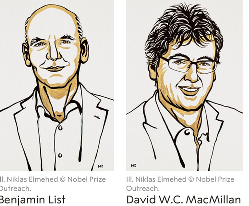 """<span class=""""caption"""">List (left) and MacMillan (right) are winners of the 2021 Nobel Prize for Chemistry.</span> <span class=""""attribution""""><span class=""""source"""">NobelPrize.org</span>, <a class=""""link rapid-noclick-resp"""" href=""""http://creativecommons.org/licenses/by-sa/4.0/"""" rel=""""nofollow noopener"""" target=""""_blank"""" data-ylk=""""slk:CC BY-SA"""">CC BY-SA</a></span>"""