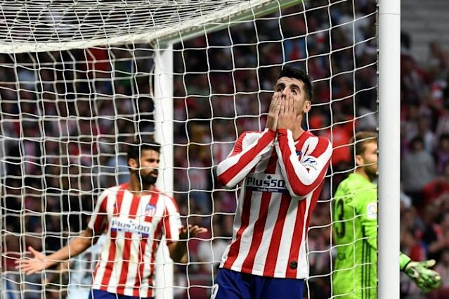 Alvaro Morata returned from a knee injury for Atletico but was unable to inspire the team to victory (AFP Photo/PIERRE-PHILIPPE MARCOU)
