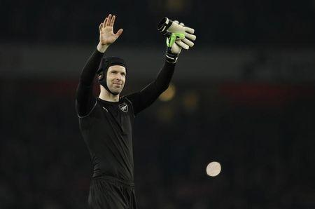 Arsenal's Petr Cech celebrates after the game