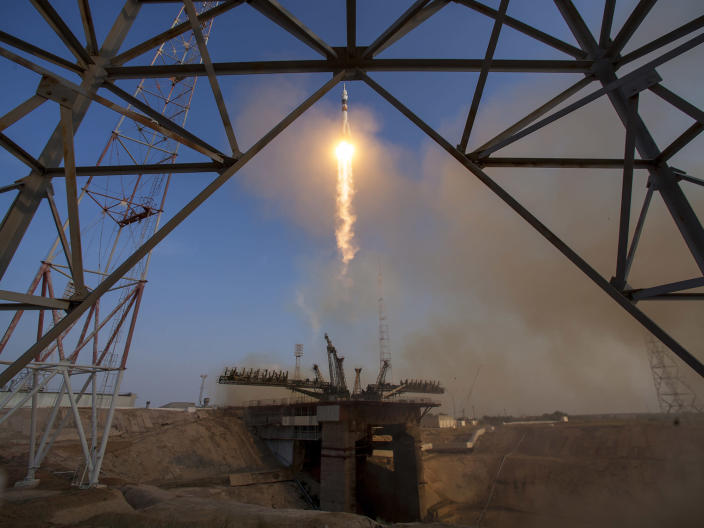 <p>The Soyuz-FG rocket booster with Soyuz MS space ship carrying a new crew to the International Space Station, ISS, flies in the sky at the Russian leased Baikonur cosmodrome, Kazakhstan, Thursday, July 7, 2016. (Bill Ingalls/NASA via AP) </p>