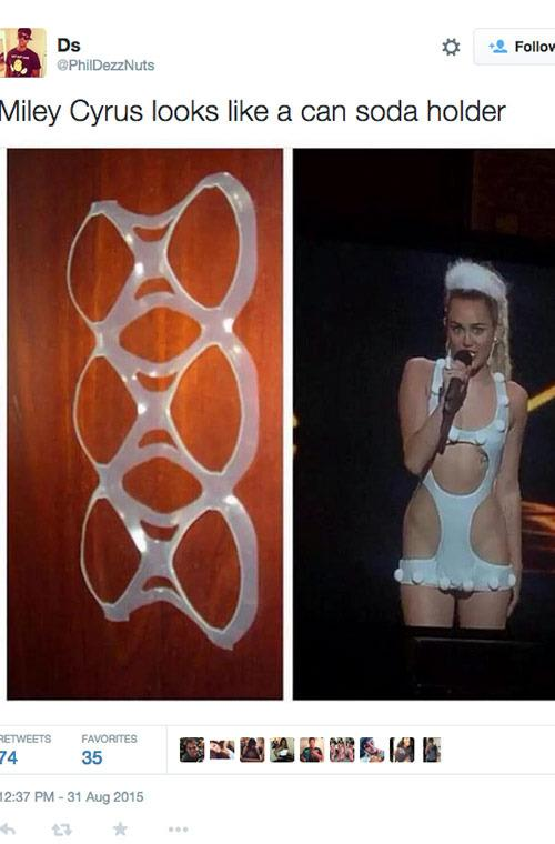 When Miley Cyrus was compared to a six-pack ring.