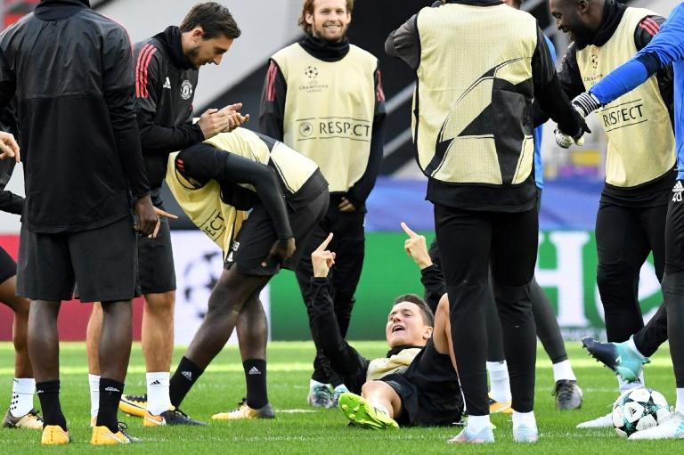 Manchester United's players take part in a training session in Moscow, on September 26, 2017, on the eve of their UEFA Champions League Group A match against CSKA Moskva