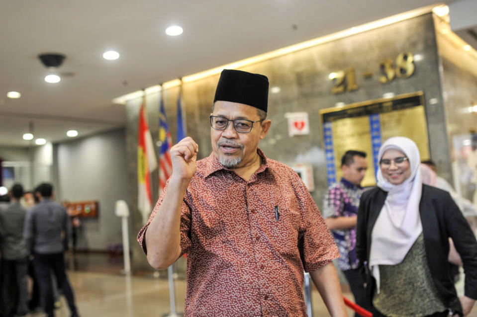 Datuk Seri Shahidan Kassim is seen at Umno headquarters after a meeting in Kuala Lumpur, March 12, 2020. — Picture by Shafwan Zaidon