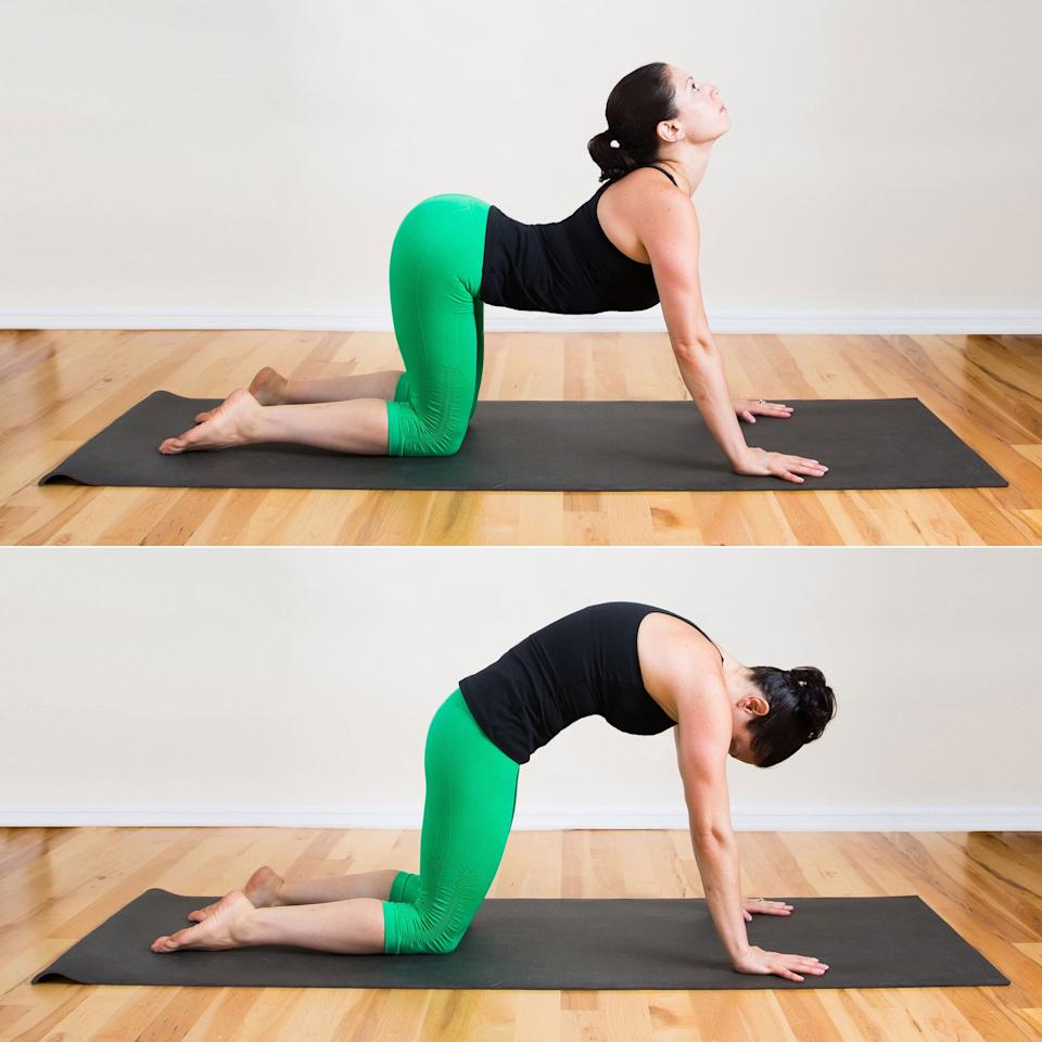 "<ul> <li>Start in table-top position with your hands underneath your shoulders and your knees underneath your hips.</li> <li>Wake up your front and back bodies by moving intuitively - Davidson suggests making circular motions with your chest and upper back, or starting to flow between Cat Pose, arching your back up, and Cow Pose, reversing the arch while lifting your gaze and tailbone. </li> <li>""As you come into Cat Pose, try holding the pose for a breath, noticing how it feels to breathe into and expand your back body. Then, flow into Cow Pose, again holding for a breath or two. Next, start to sync your breath with the movements, inhaling up into Cat Pose and exhaling out for Cow Pose,"" Davidson says.</li> <li>Flow through these poses for one minute. </li> </ul>"