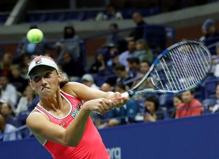 FILE PHOTO - Tennis - US Open - New York, U.S. - August 29, 2017 - Elise Mertens of Belgium in action against Madison Keys of the United States during their first round match. REUTERS/Shannon Stapleton