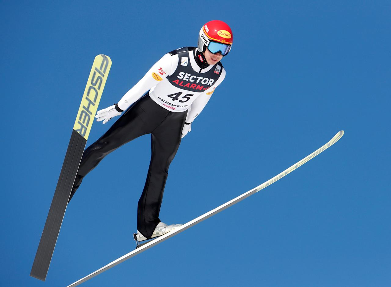 REFILE - ADDING RESTRICTIONS  Skiing -  Holmenkollen FIS World Cup Nordic - Nordic Combined ski jumping - Oslo, Norway - 11/03/2017.  Mario Seidl of Austria competes.  NTB Scanpix/Terje Bendiksby/via REUTERS   ATTENTION EDITORS - THIS IMAGE WAS PROVIDED BY A THIRD PARTY. FOR EDITORIAL USE ONLY. NORWAY OUT. NO COMMERCIAL SALES.