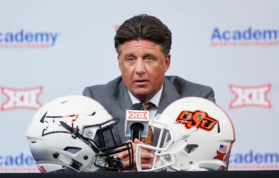 Oklahoma State football oach Mike Gundy speaks to the media during Big 12 media days at AT&T Stadium.