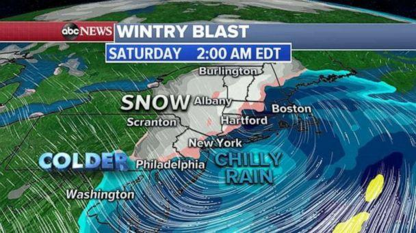 PHOTO: At this point it looks like the heaviest snow will be mostly inland areas Pennsylvania, New Jersey, New York Connecticut and into New England. There is a chance we could see some snow flurries even in Philadelphia and New York City in May. (ABC News)