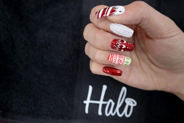 PHOTO: Kirsty Smitheman Brand Ambassador of Pure Nails gives us a step by step guide on how to create these festive Christmas sweater nails (MissBudgetBeauty)