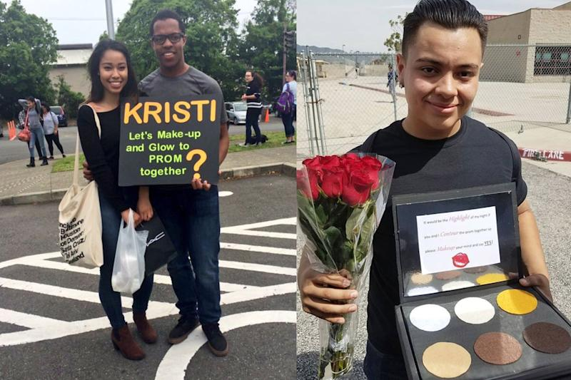 Teenagers are creating the best prom proposal ideas for beauty lovers everywhere. (Photo: Instagram brilove720/Twitter DoDDsProm2k16)