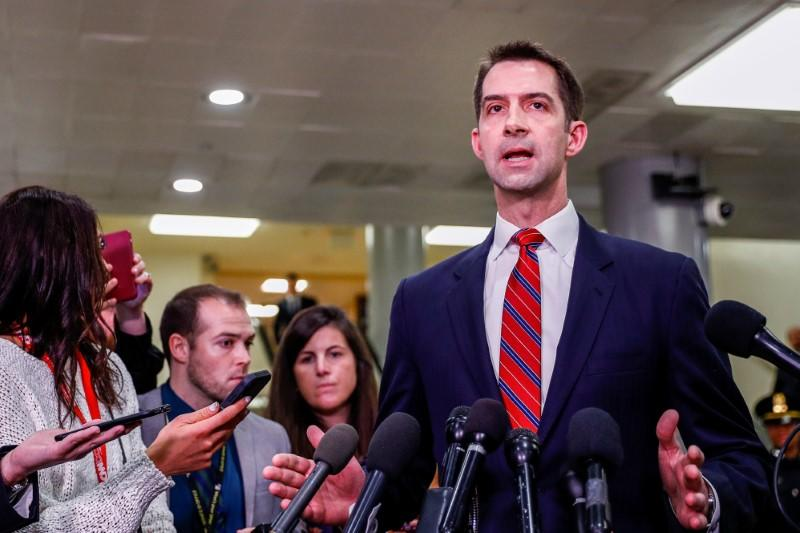 U.S. Senator Cotton speaks after national security briefing on Iran on Capitol Hill in Washington