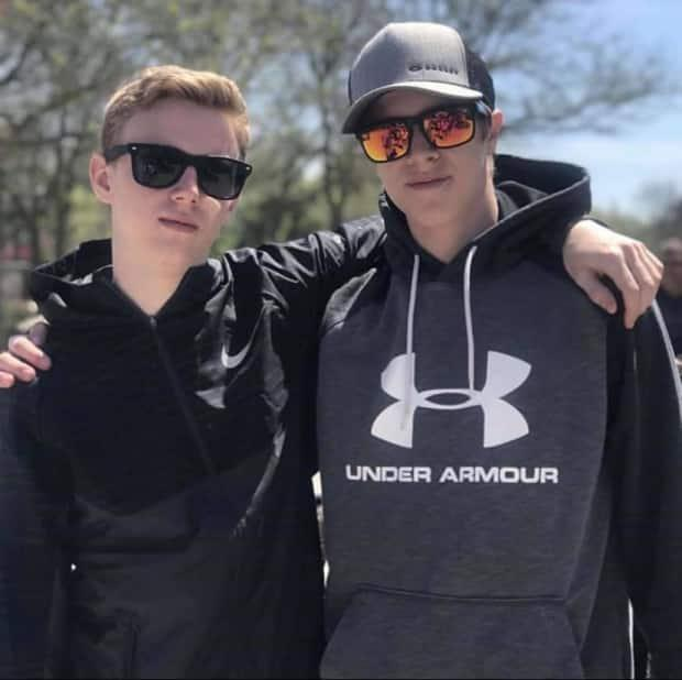 Alex Hutchinson, left, and Ethan Reilly, right, died when their dory capsized off Northport, P.E.I., in September.
