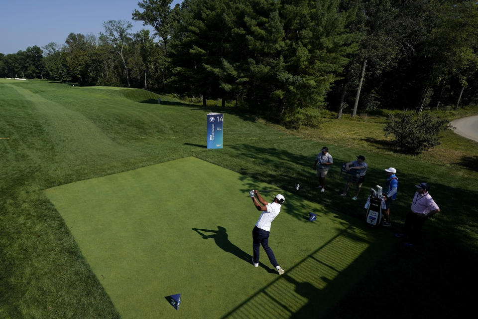 Tony Finau tees off on the 14th hole during the ProAm at the BMW Championship golf tournament, Wednesday, Aug. 25, 2021, at Caves Valley Golf Club in Owings Mills, Md. The BMW Championship tournament begins Thursday. (AP Photo/Julio Cortez)