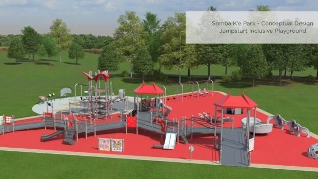 The 11,000 square foot, wheelchair-friendly playground is expected to officially open to the public in September.  (City of Yellowknife - image credit)