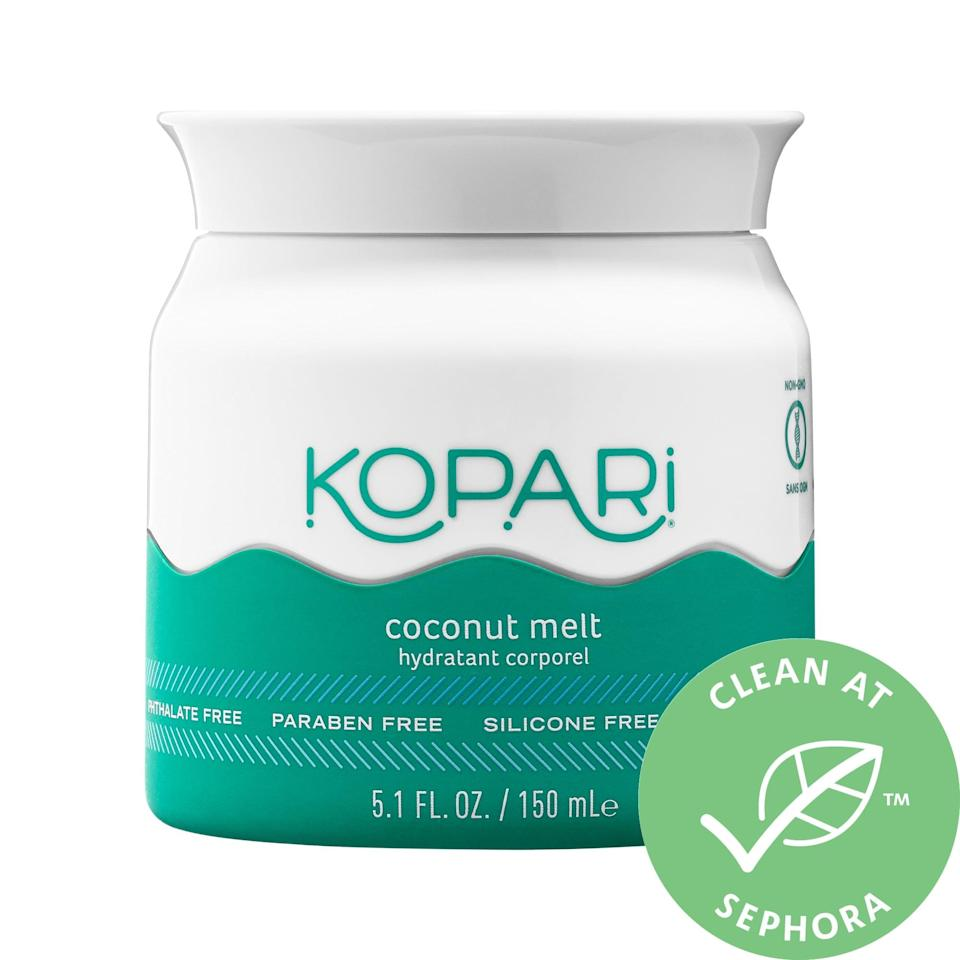 """<p>The multifunctional <a href=""""https://www.popsugar.com/buy/Kopari-Coconut-Melt-572844?p_name=Kopari%20Coconut%20Melt&retailer=sephora.com&pid=572844&price=18&evar1=bella%3Aus&evar9=47461551&evar98=https%3A%2F%2Fwww.popsugar.com%2Fbeauty%2Fphoto-gallery%2F47461551%2Fimage%2F47461581%2FKopari-Coconut-Melt&list1=sephora%2Cdry%20skin%2Cacne%2Csensitive%20skin%2Cbeauty%20shopping%2Cskin%20care&prop13=mobile&pdata=1"""" class=""""link rapid-noclick-resp"""" rel=""""nofollow noopener"""" target=""""_blank"""" data-ylk=""""slk:Kopari Coconut Melt"""">Kopari Coconut Melt</a> ($18-$28) is actually pure, unrefined coconut oil that can hydrate anywhere you need it. The fatty acids and lauric acid inside can fight inflammation and also relieve dry, eczema-prone skin.</p>"""