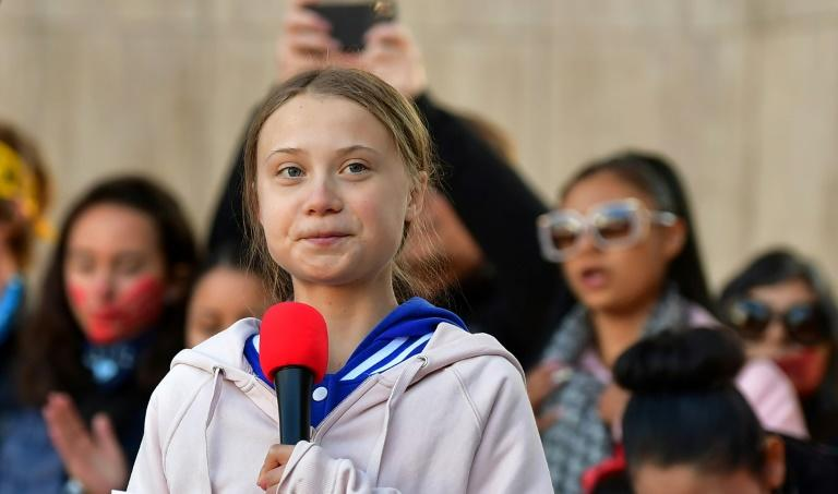 Greta Thunberg, shown here speaking in Denver, Colorado on October 11, 2019, has become the face of the fight against political inaction on global warming (AFP Photo/Frederic J. BROWN)