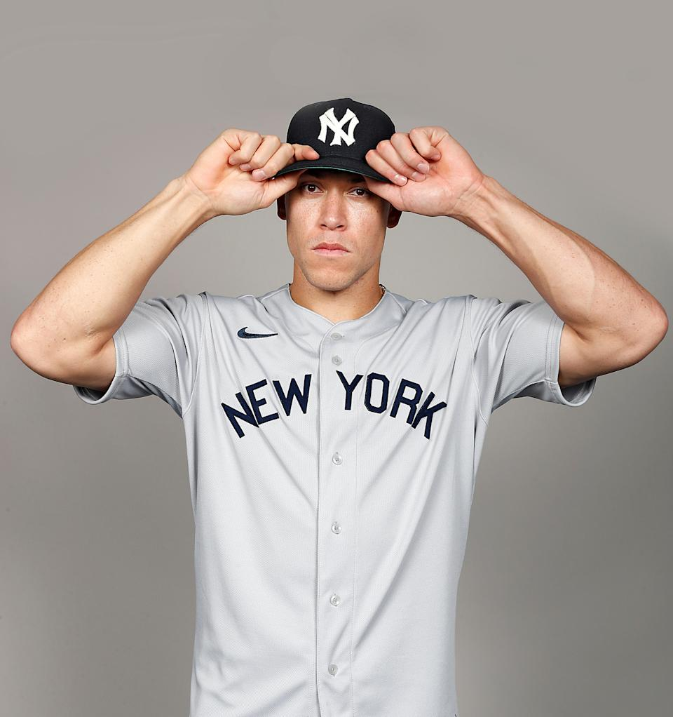 Aaron Judge models the New York Yankees uniform for the 2021 MLB Field of Dreams Game. (MLB/New York Yankees)