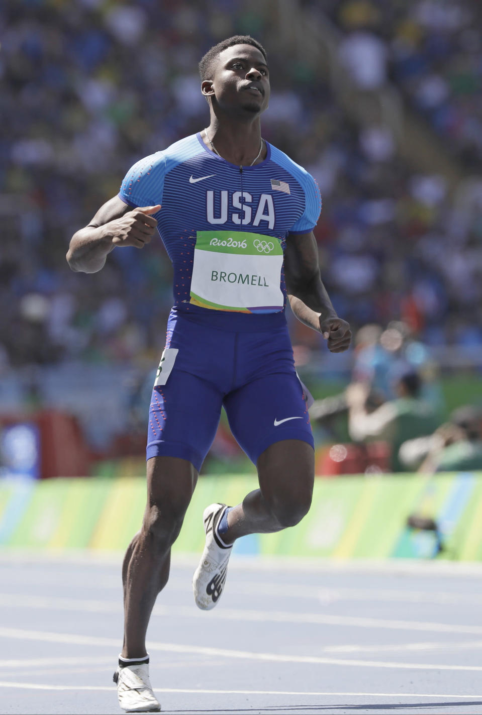 FILE - In this Aug. 13, 2016, file photo, United States' Trayvon Bromell places second in a men's 100-meter heat during the athletics competitions of the 2016 Summer Olympics at the Olympic stadium in Rio de Janeiro, Brazil. Bromell is one of the favorites in a 100-meter field that includes Noah Lyles and veteran Justin Gatlin at the U.S. Olympic track and field trials. (AP Photo/David J. Phillip, File)