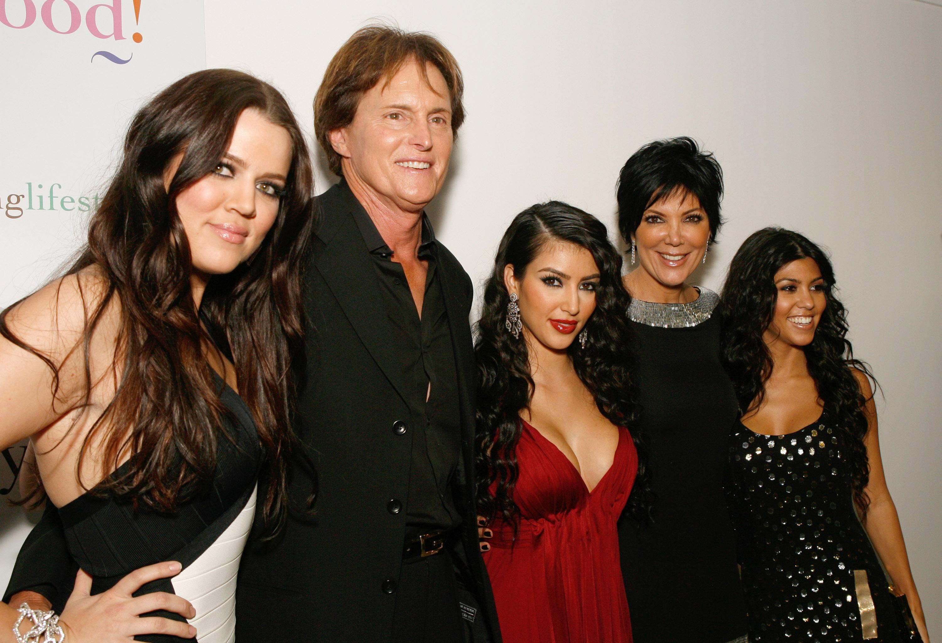 "LOS ANGELES - OCTOBER 09: Khloe Kardashian, Bruce Jenner, Kim Kardashian and Kris Jenner at the ""Keeping Up With The Kardashians"" premiere party on October 9, 2007 in West Hollywood, California. (Photo by Jeff Vespa/WireImage)"