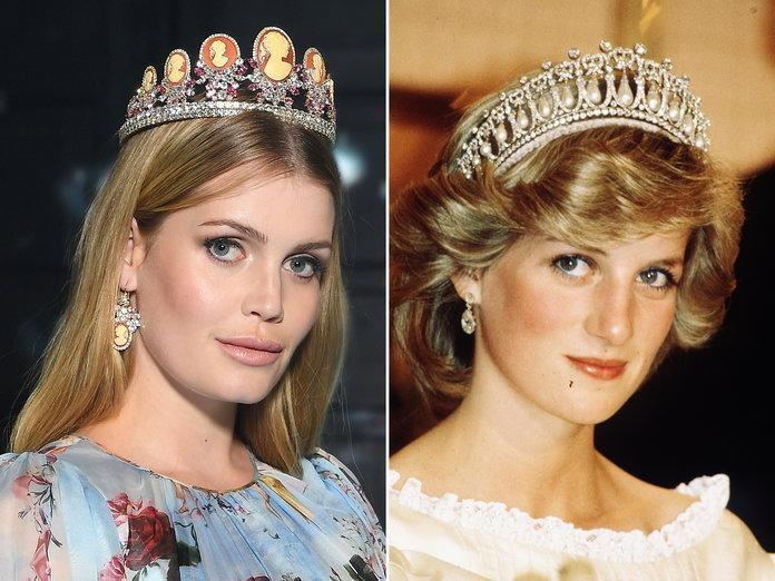 Princess Diana's niece Lady Kitty Spencer, left, at the Dolce & Gabbana runway show in Milan Fashion Week. (Photos: Getty Images)