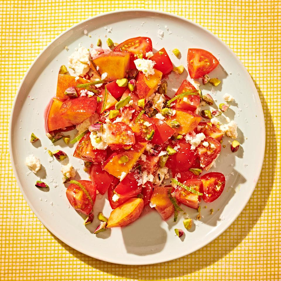 <p>This juicy salad is the perfect snack in the height of summer when tomatoes and peaches are at their best.</p>