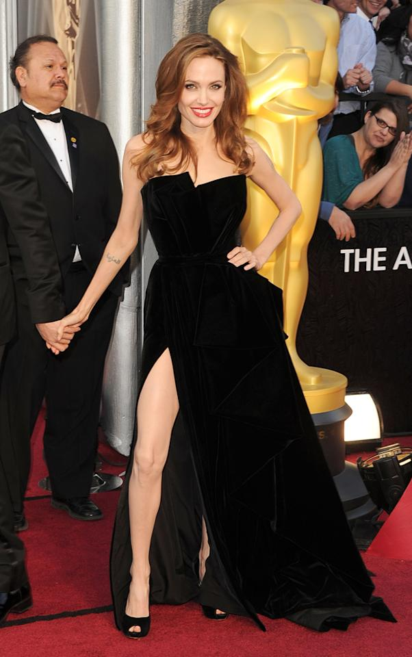 Angelina Jolie arrives at the 84th Annual Academy Awards in Hollywood, CA.