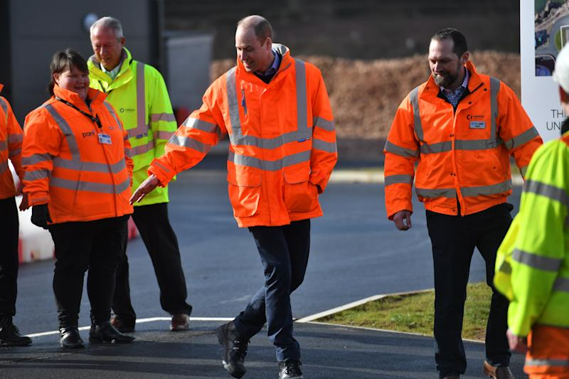 The Duke of Cambridge (centre) during a visit to the Tarmac National Skills and Safety Park in Nottinghamshire.