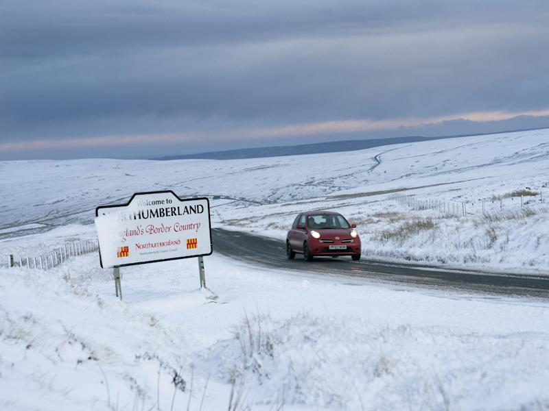 Snowfall on the Northumberland border: Owen Humphreys/PA Wire/PA Images