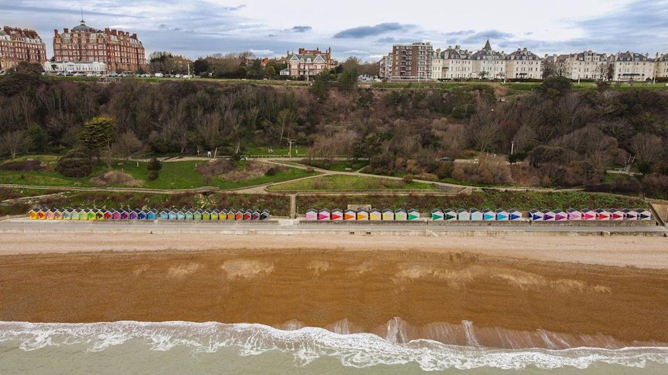 """<p>You won't struggle to spot Bangladesh-born artist Rana Begum's new commission for the Folkestone Triennial: a row of 100 beach huts painted in bright geometric chevron patterns and stretching along the promenade. It gives the beach huts a flow and playfulness reminiscent of light through a prism, or the rising scale of a keyboard, or, you know, a really big book of paint swatches. Whatever it reminds you of, it's undeniably cheery. Begum's work is one of around 20 newly commissioned site-specific artworks, which will also include a skatepark courtesy of Turner-Prize winning collective Assemble, a roving hot rod-cum-plant-laboratory from Mike Stubbs, and a run of posters from Gilbert & George.</p><p>22 July to 2 November, <a href=""""https://www.creativefolkestone.org.uk/folkestone-triennial/"""" rel=""""nofollow noopener"""" target=""""_blank"""" data-ylk=""""slk:creativefolkstone.org.uk/folkestone-triennial"""" class=""""link rapid-noclick-resp"""">creativefolkstone.org.uk/folkestone-triennial</a></p>"""