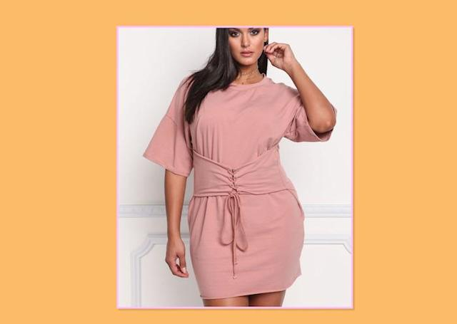 "<p>Plus-Size Lace-Up Corset Tee Dress, $43, <a href=""http://www.debshops.com/PlusSize/Plus+Size+Lace+Up+Corset+Tee+Dress