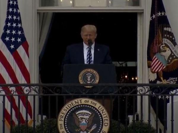 US President Donald Trump addressing the people from the White House on Saturday (local time).