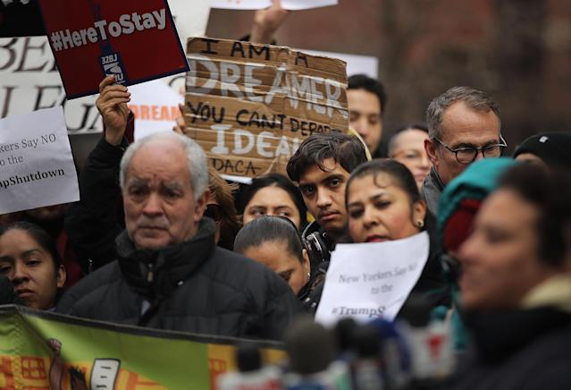 Demonstrators, many of them recent immigrants to America, protest the government shutdown and the lack of a deal on DACA (Deferred Action for Childhood Arrivals) outside Federal Plaza on Jan. 22, 2018, in New York City. (Photo: Spencer Platt/Getty Images)