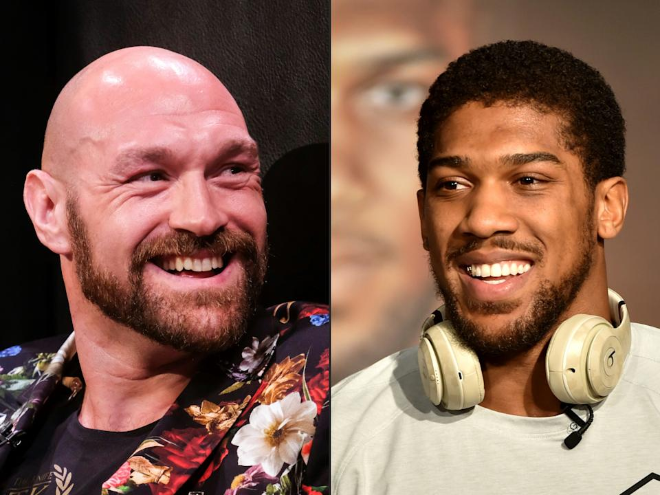 (COMBO) This combination of pictures created on December 14, 2020 shows Boxer Tyson Fury (L) during a press conference in Los Angeles, California on January 25, 2020, and British heavyweight boxer Anthony Joshua during a press conference in Ad Diriyah, a Unesco-listed heritage site, outside Riyadh, on December 4, 2019. - Anthony Joshua's promoter Eddie Hearn says a deal for his man to fight Tyson Fury in an all-British world heavyweight unification bout in 2021 could take as little as two days to complete. Plans for a