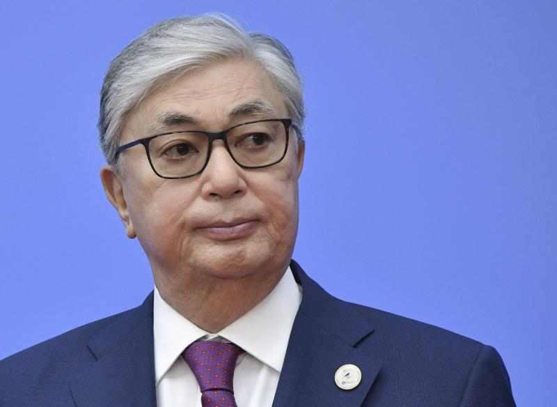 FILE In this file photo taken on Wednesday, May 29, 2019, Kazakhstan's acting President Kassym-Jomart Tokayev arrives to attend the Supreme Eurasian Economic Council meeting in Nur-Sultan, the capital city of Kazakhstan. For the first time in nearly three decades of independence, Kazakhstan is holding a presidential election without Nursultan Nazarbayev on the ballot, but the longtime leader of the oil-rich Central Asian country casts a long shadow on the vote. (Alexei Nikolsky, Sputnik, Kremlin Pool Photo via AP, File)