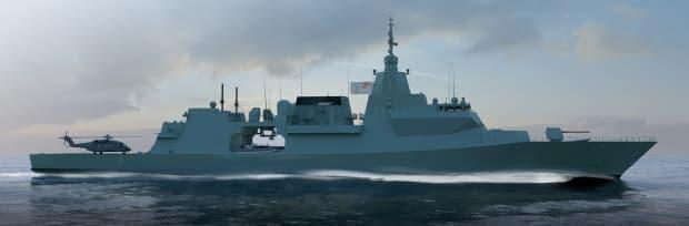 An artist's rendering of the British Type 26 frigate. (BAE Systems Inc./Lockheed Martin Canada - image credit)