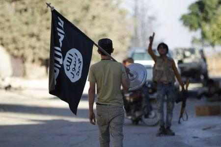 FILE PHOTO: A rebel fighter takes away a flag that belonged to Islamic State militants in Akhtarin village, after rebel fighters advanced in the area, in northern Aleppo Governorate