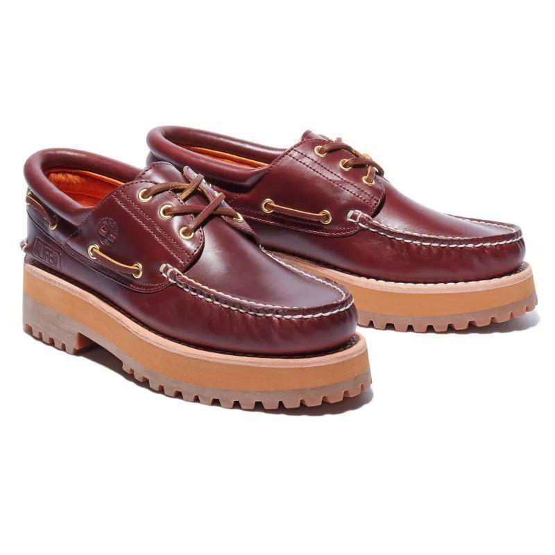 """<p><strong>Alife x Timberland</strong></p><p>timberland.com</p><p><strong>$170.00</strong></p><p><a href=""""https://go.redirectingat.com?id=74968X1596630&url=https%3A%2F%2Fwww.timberland.com%2Fshop%2Fmens-new-arrivals%2Fmens-alife-x-timberland-three-eye-classic-handsewn-shoes-red-a2qn9648&sref=https%3A%2F%2Fwww.esquire.com%2Fstyle%2Fmens-fashion%2Fg36368267%2Fbest-new-menswear-may-7-2021%2F"""" rel=""""nofollow noopener"""" target=""""_blank"""" data-ylk=""""slk:Shop Now"""" class=""""link rapid-noclick-resp"""">Shop Now</a></p><p>Shoes built for stomping—and towering above everyone else while you do it.</p>"""