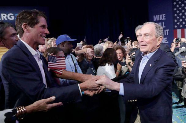 PHOTO: Democratic presidential candidate former New York City Mayor Mike Bloomberg shakes hands during a campaign rally in West Palm Beach, Fla., March 3, 2020. (Lynne Sladky/AP, FILE)