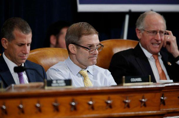 PHOTO: From left, Steve Castor, the Republican staff attorney, Rep. Jim Jordan and Rep. Mike Conaway, listen as U.S. Ambassador to the European Union Gordon Sondland testifies before the House Intelligence Committee on Capitol Hill, Nov. 20, 2019. (Alex Brandon/AP)