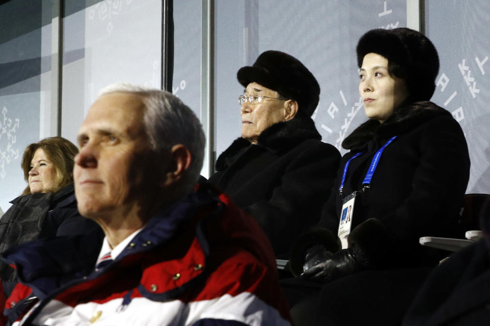 Kim Yo Jong, top right, sister of North Korean leader Kim Jong Un, sits alongside Kim Yong Nam, president of the Presidium of North Korean Parliament, and behind U.S. Vice President Mike Pence as she watches the opening ceremony of the 2018 Winter Olympics in Pyeongchang, South Korea, Friday, Feb. 9, 2018. (AP)