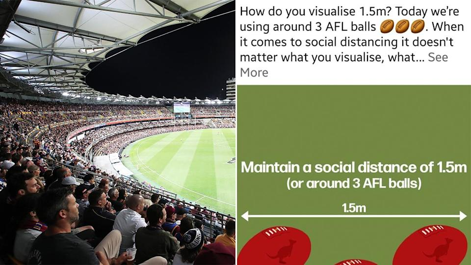 Queensland Health's social media post (pictured right) and the AFLat the Gabba (pictured right).