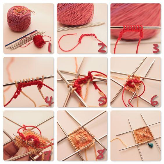 Instructions on how to knit with pink yarn