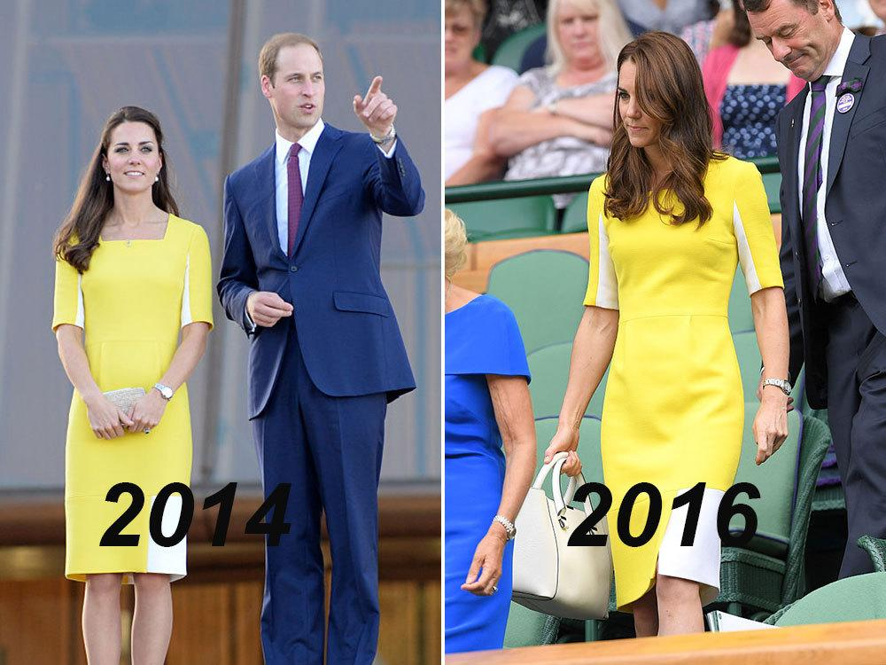 "<p>We first saw the Duchess step out in this brightly-coloured frock while arriving to Australia for the royal family's tour in 2014. The dress, by Serbian-British designer Roksanda Ilincic, was said to be a nod to one of Australia's national colours (gold) – but Kate <a href=""http://fashionista.com/2014/04/kate-middleton-australia-outfits"">told reporters</a> Prince William said it made her look ""like a banana."" Rude! Clearly Will's comments didn't leave a lasting impression on the Duchess, though – she stepped out wearing the frock again for this year's Wimbledon tournament. </p>"
