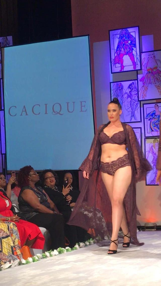 A model wears a burgundy-lace lingerie set by Cacique at Full Figured Fashion Week's finale. (Photo: Courtesy of Lane Bryant/Cacique)