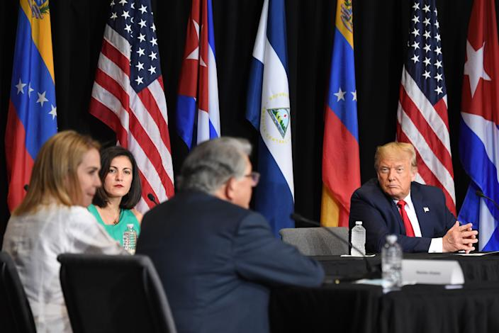 "US President Donald Trump holds a roundtable on ""Supporting the People of Venezuela"" at Iglesia Doral Jesus Worship Center in Doral, Florida, on July 10, 2020."